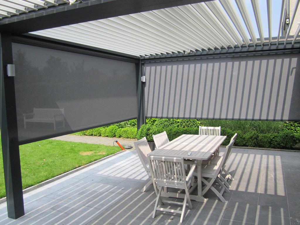 terrasoverkapping met lamellen van zon wonen. Black Bedroom Furniture Sets. Home Design Ideas